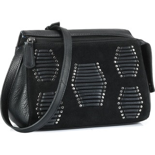 Phive Rivers Black Leather Shoulder Handbag (Italy)