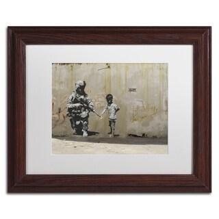 Banksy 'Peace' White Matte, Wood Framed Wall Art