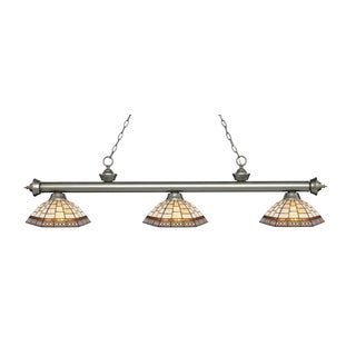 Avery Home Lighting Riviera Antique Silver 3-light Island/Billiard Multi Colored Tiffany-style-finished Light