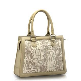 Handmade Phive Rivers White Leather Shoulder Handbag (Italy)