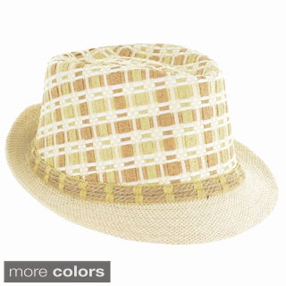 Faddism Fashion Plaid Weave Fedora Hat