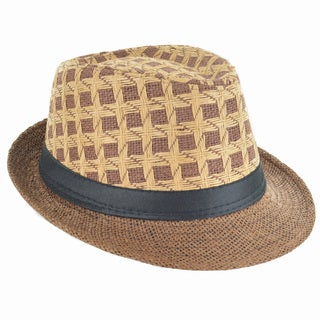 Faddism Fashion Brown Pattern Fedora Hat