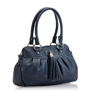 Phive Rivers Blue Leather Satchel Handbag (Italy)