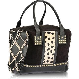 Handmade Phive Rivers Black Leather Shoulder Handbag (Italy)