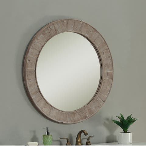 Rustic Style 35 inch Round Wall Mirror - Brown - A/N