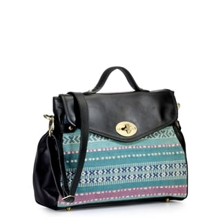 Phive Rivers Leather Black Satchel Handbag (Italy)