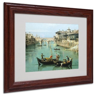 Canaletto 'Arno River and Ponte Vecchio' White Matte, Wood Framed Wall Art