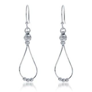 La Preciosa Sterling Silver Diamond-cut Bead Teardrop Earrings