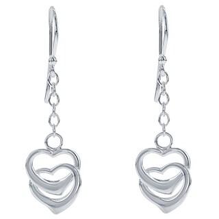 La Preciosa Sterling Silver Dangling Double Heart Earrings