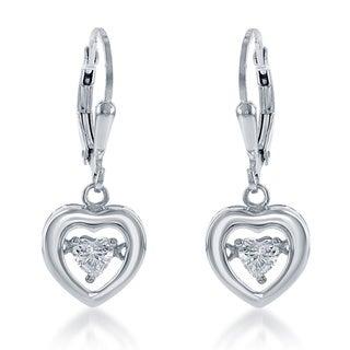 La Preciosa Sterling Silver 'Dancing Cubic Zirconia' Heart Earrings