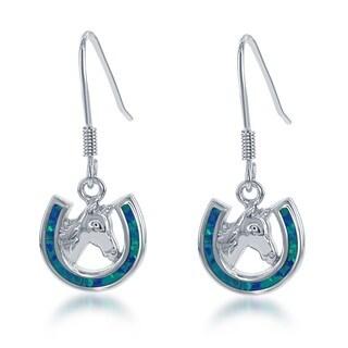 La Preciosa Sterling Silver Created Blue Opal Horseshoe Horse Earrings
