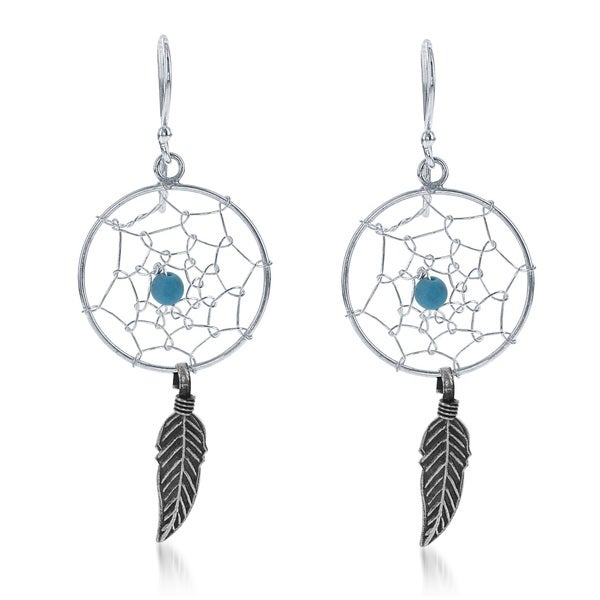 La Preciosa Sterling Silver Feather and Turquoise Bead Dream Catcher Earrings