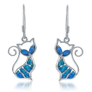 La Preciosa Sterling Silver Created Blue Opal Cat Dangle Earrings