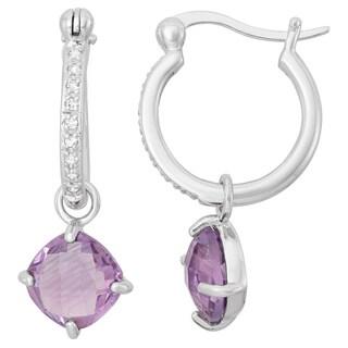 La Preciosa Sterling Silver Gemstone and White Topaz Small Hoop Earrings