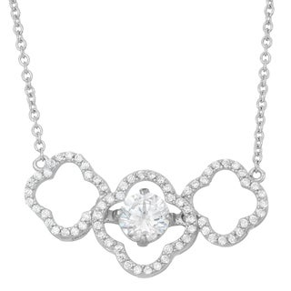 La Preciosa Sterling Silver Triple Flower 'Dancing' Cubic Zirconia Necklace
