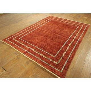 Kashkuli Collection Oriental Hand-knotted Gabbeh Rust Wool Area Rug (6' x 8')