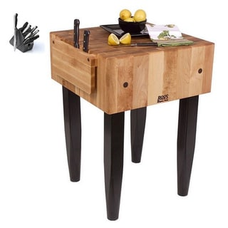 John Boos PCA1 18x18x36 Maple Butcher Block Table with Casters and J.A. Henckels 13-piece Knife Block Set