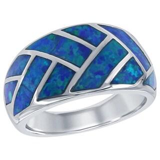 La Preciosa Sterling Silver Created Blue Opal Interwoven Band Ring