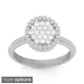 La Preciosa Sterling Silver Cubic Zirconia Beaded Circle Ring