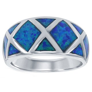La Preciosa Sterling Silver Created Blue Opal Criss-Cross Band Ring
