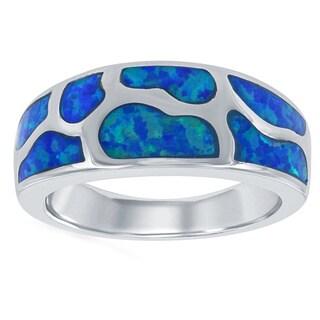 La Preciosa Sterling Silver Created Blue Opal Designed Band Ring