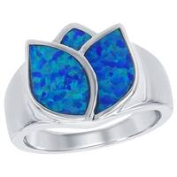 La Preciosa Sterling Silver Created Blue Opal Flower Ring