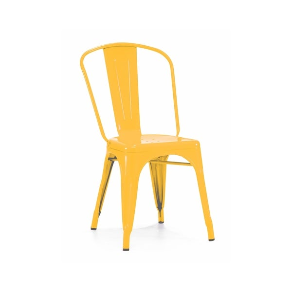 Amalfi Stackable Glossy Yellow Steel Side Chair (Set of 4)