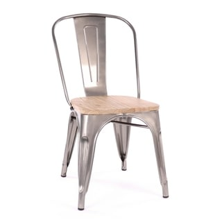Amalfi Stackable Clear Gunmetal and Light Elm Wood Seat Steel Dining Chair (Set of 4)