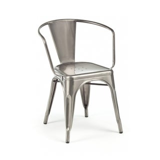 Amalfi Stackable Gunmetal Steel Dining Chair (Set of 4)