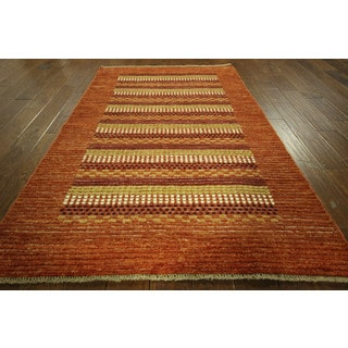 Tribal Collection Kaskuli Buft Gabbeh Coral Hand-knotted Wool Area Rug (4' x 6')