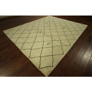 Hand-knotted Ivory/Brown Abstract Trellis Moroccan Wool Area Rug (8' x 10')