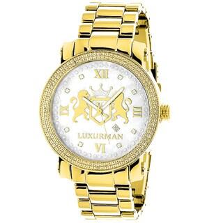 Luxurman Men'S Phantom Yellow Goldplated 1/8Ct Tdw Diamond Watch