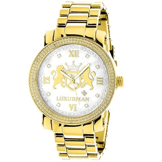 Luxurman Men'S Phantom Yellow Goldplated 1/8Ct Tdw Diamond Watch