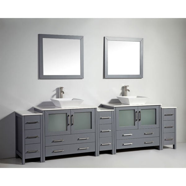 Legion Furniture 108 Inch Dark Grey Solid Wood Double Sink Vanity With 2 Mirrors Free Shipping