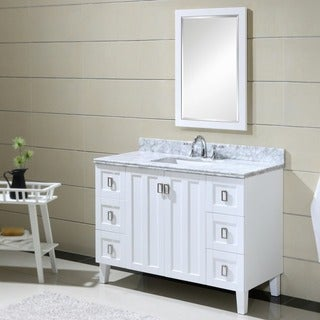 Contemporary Style 48 inch Carrara White Marble Top Single Sink Bathroom Vanity in White Finish