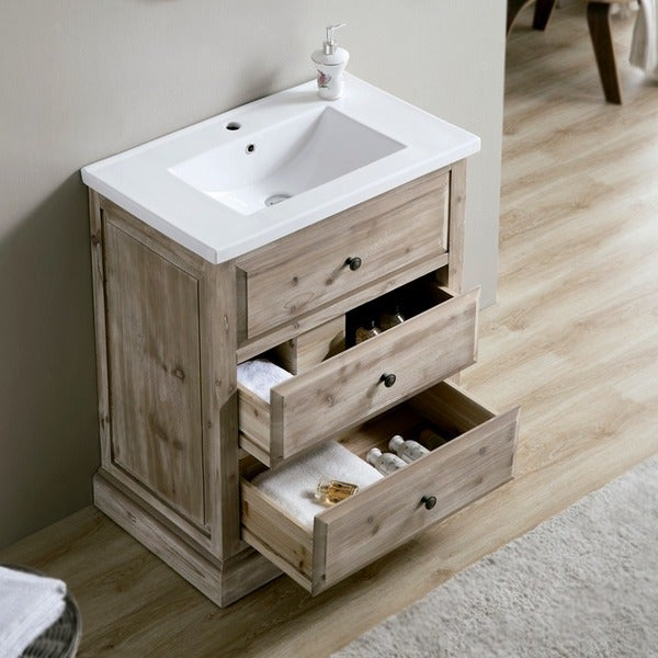Shop 30-inch Single Sink Rustic Bathroom Vanity with ...