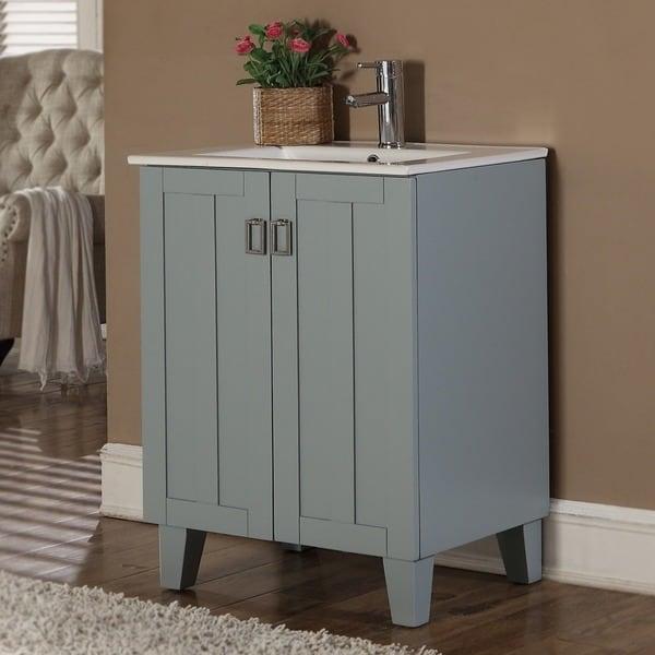 Shop 30 inch grey blue finish single sink bathroom vanity for Gray 30 inch bathroom vanity