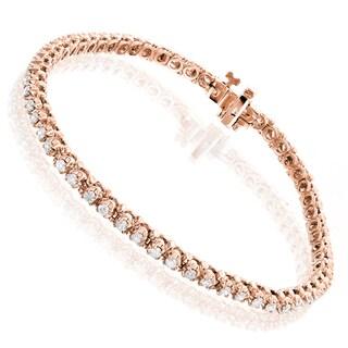 Luxurman 10k Gold 1 1/2ct TDW Round Diamond Tennis Bracelet