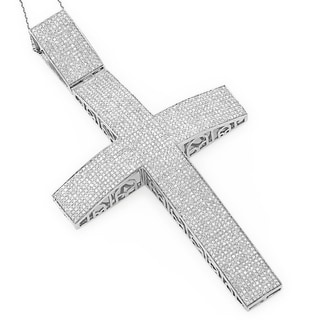 Luxurman Sterling Silver 6 7/8ct TDW Diamond Cross Pendant (H-I, SI-I)