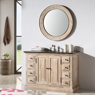 Marble Top 48-inch Single Sink Rustic Bathroom Vanity with Matching Wall Mirror
