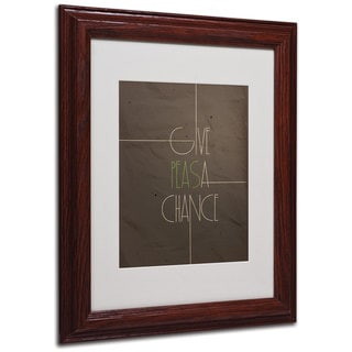Megan Romo 'Give Peas a Chance' White Matte, Wood Framed Wall Art