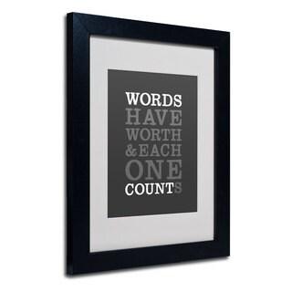 Megan Romo 'Words Worth' White Matte, Black Framed Wall Art