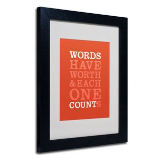 Megan Romo 'Words Worth II' White Matte, Black Framed Wall Art