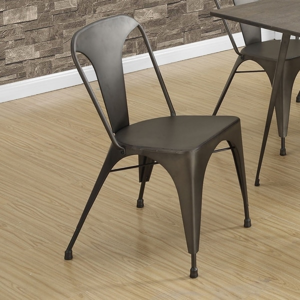 Bronze Metal Cafe Dining Chairs (Set Of 2)