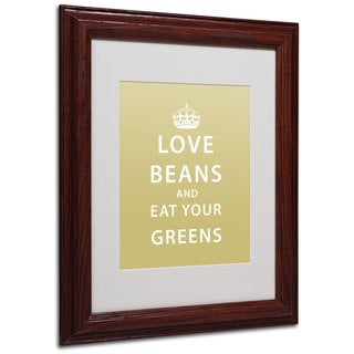 Megan Romo 'Love Beans' White Matte, Wood Framed Wall Art
