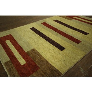 Lori Buft Style Gabbeh Geometric Oriental Hand-knotted Wool Area Rug (4' x 6')