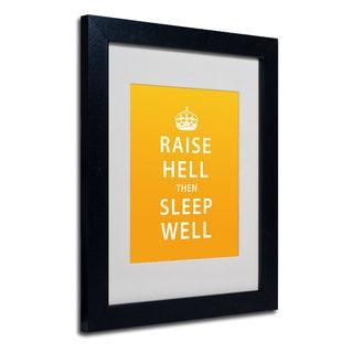 Megan Romo 'Raise Hell III' White Matte, Black Framed Wall Art