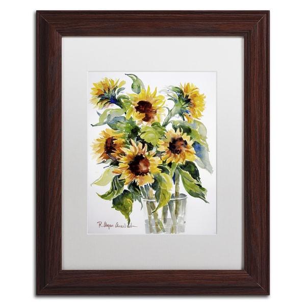 Rita Auerbach 'Sunflowers' White Matte, Wood Framed Wall Art