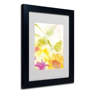 Sheila Golden 'Wind Sunflowers' White Matte, Black Framed Wall Art
