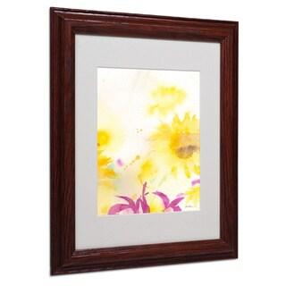 Sheila Golden 'Wind Sunflowers' White Matte, Wood Framed Wall Art